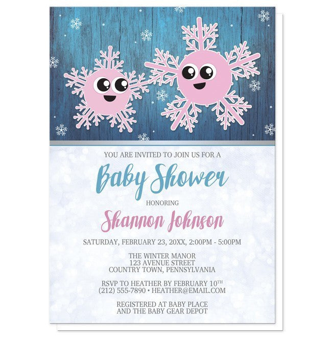 Cute Snowflake Rustic Winter Girl Baby Shower Invitations - Artistically Invited