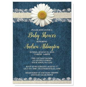 Daisy Burlap and Lace Denim Baby Shower Invitations - Artistically Invited