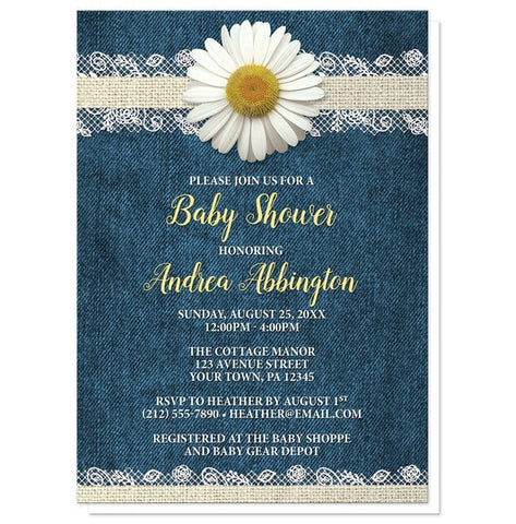 Baby Shower Invitations - Daisy Burlap and Lace Denim