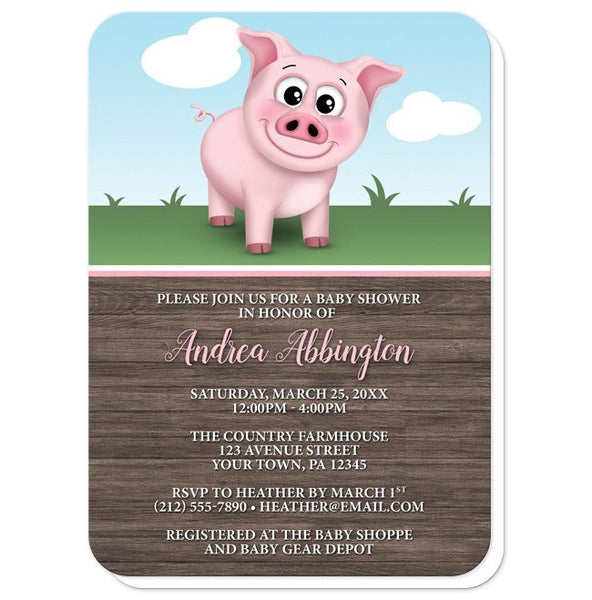 Baby Shower Invitations - Happy Pink Pig on the Farm - rounded corners