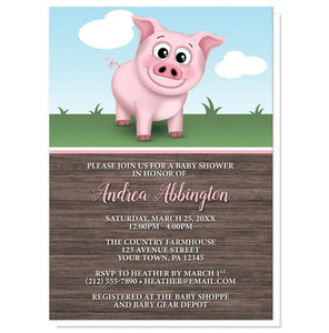 Baby Shower Invitations - Happy Pink Pig on the Farm