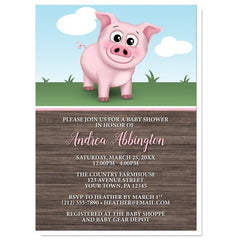 Happy Pink Pig on the Farm Baby Shower Invitations