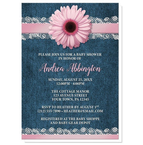 Pink Daisy Lace Rustic Denim Baby Shower Invitations - Artistically Invited