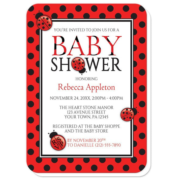 Polka Dot Red and Black Ladybug Baby Shower Invitations - rounded corners