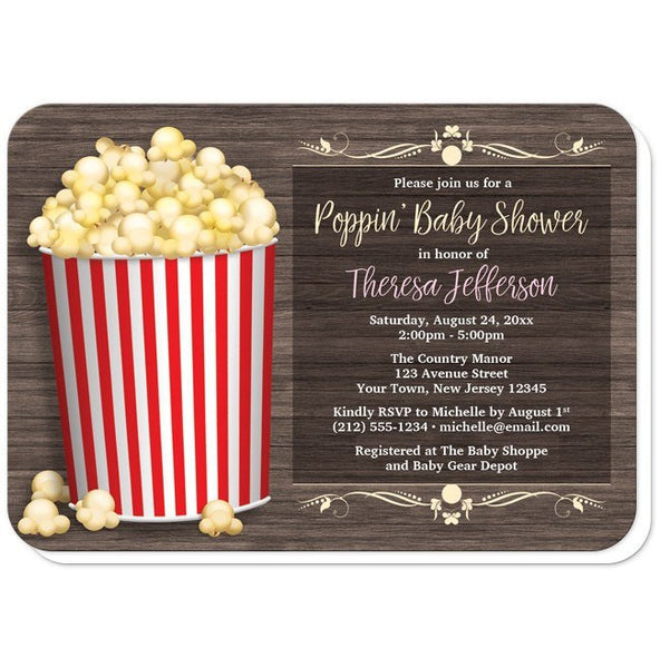 Baby Shower Invitations - Popcorn Bucket Rustic Wood - rounded corners