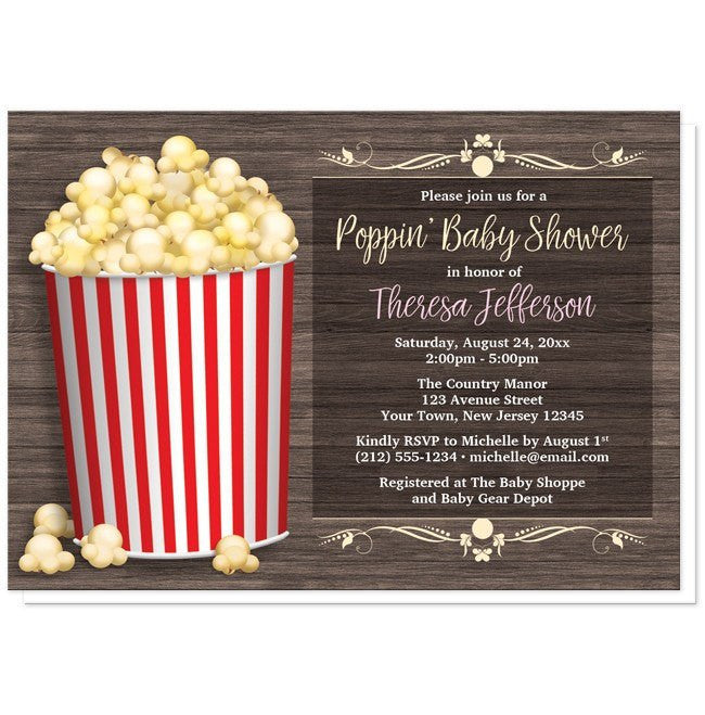 Popcorn Bucket Rustic Wood Baby Shower Invitations at  Artistically Invited