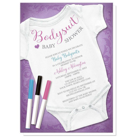Baby Shower Invitations - Purple Decorating Activity Baby Bodysuit