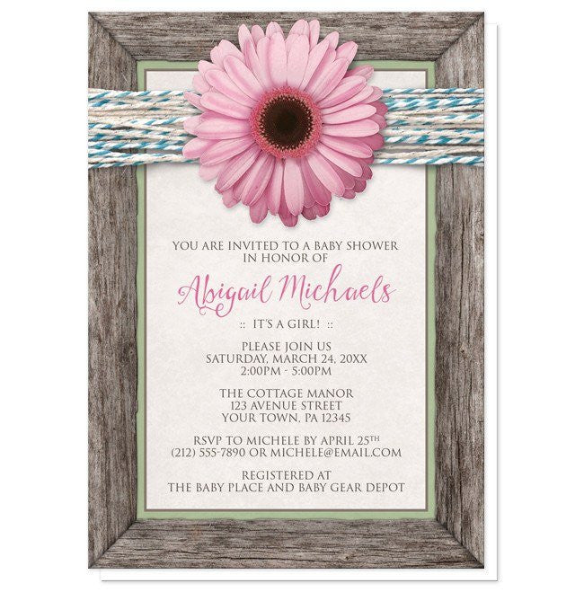 Baby Shower Invitations - Rustic Chic Pink Daisy Turquoise Wood