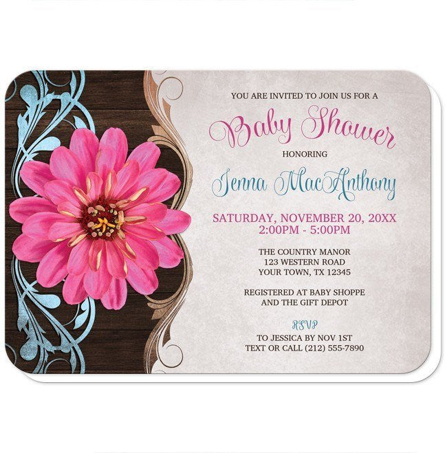 Rustic Country Pink Zinnia Baby Shower Invitations at  Artistically Invited