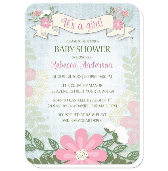 Rustic Floral Southern Girl Baby Shower Invitations - Artistically Invited