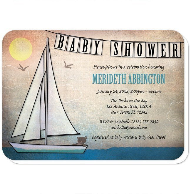 Rustic Nautical Sailboat Baby Shower Invitations at  Artistically Invited