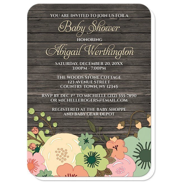Rustic Orange Teal Floral Wood Baby Shower Invitations - Artistically Invited