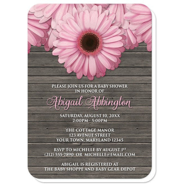 Baby Shower Invitations - Rustic Pink Daisy Brown Wood - rounded corners