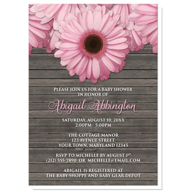 Baby Shower Invitations - Rustic Pink Daisy Brown Wood