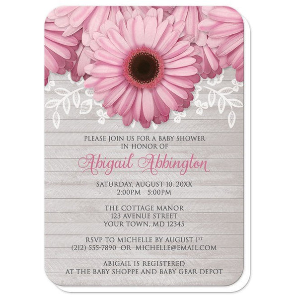 Baby Shower Invitations - Rustic Pink Daisy Gray Wood - rounded corners