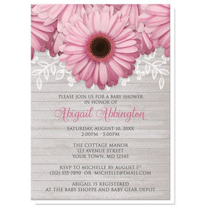 Baby Shower Invitations - Rustic Pink Daisy Gray Wood