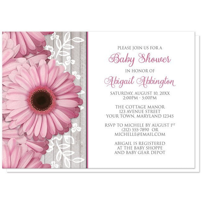 rustic pink daisy wood white baby shower invitations online at