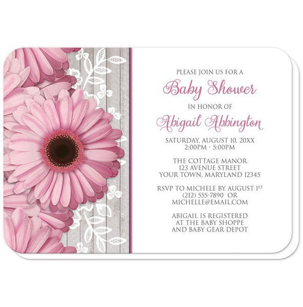 Baby Shower Invitations - Rustic Pink Daisy Wood White - rounded corners