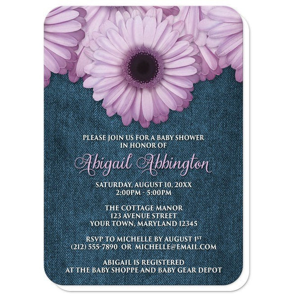 Baby Shower Invitations - Rustic Purple Daisy Denim - rounded corners