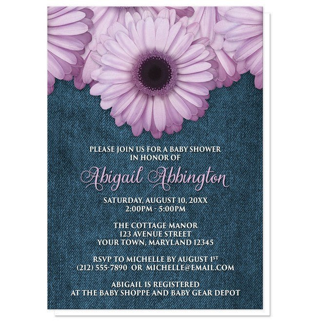 Baby Shower Invitations - Rustic Purple Daisy Denim