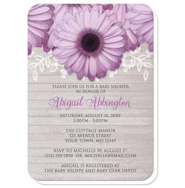 Baby Shower Invitations - Rustic Purple Daisy Gray Wood - rounded corners