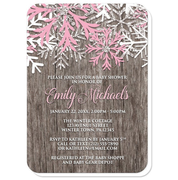 Rustic Winter Wood Pink Snowflake Baby Shower Invitations - Artistically Invited