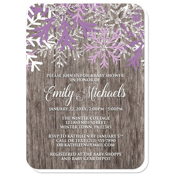 Baby Shower Invitations - Rustic Winter Wood Purple Snowflake - rounded corners