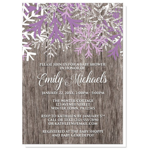 Baby Shower Invitations - Rustic Winter Wood Purple Snowflake