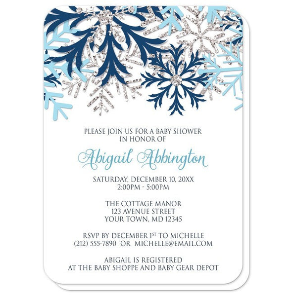Winter Blue Silver Snowflake Baby Shower Invitations - rounded corners