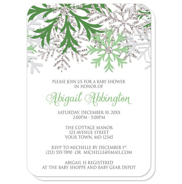 Baby Shower Invitations - Winter Snowflake Green Silver - rounded corners