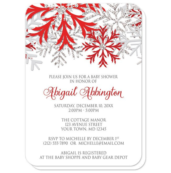Baby Shower Invitations - Winter Snowflake Red Silver - rounded corners
