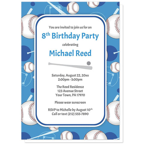Baseball Themed Blue Pattern Birthday Party Invitations at Artistically Invited