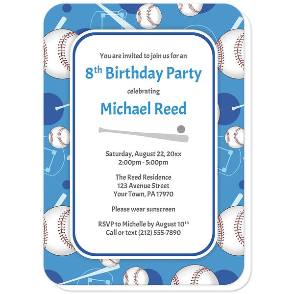 Baseball Themed Blue Pattern Birthday Party Invitations (rounded corners) at Artistically Invited