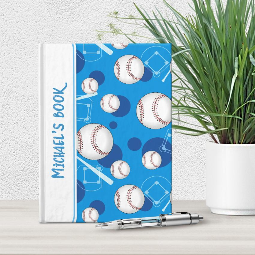 "Baseball Themed Blue Pattern Personalized 5"" x 7"" Journal"