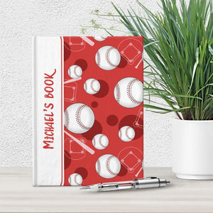 "Baseball Themed Red Pattern Personalized 5"" x 7"" Journal"