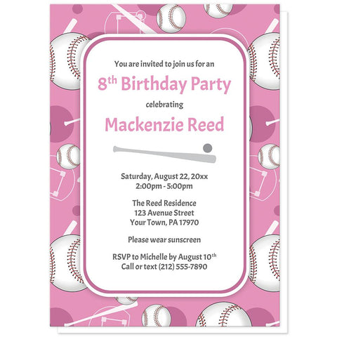 Baseball Themed Pink Pattern Birthday Party Invitations at Artistically Invited