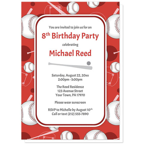 Baseball Themed Red Pattern Birthday Party Invitations at Artistically Invited
