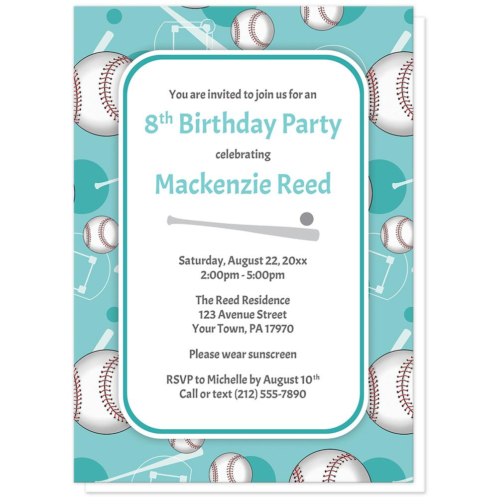 Baseball Themed Teal Pattern Birthday Party Invitations online at ...