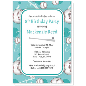 Baseball Themed Teal Pattern Birthday Party Invitations at Artistically Invited