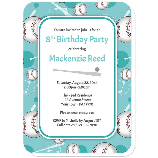 Baseball Themed Teal Pattern Birthday Party Invitations (rounded corners) at Artistically Invited