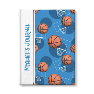 "Basketball Themed Blue Pattern Personalized 5"" x 7"" Journal at Artistically Invited"