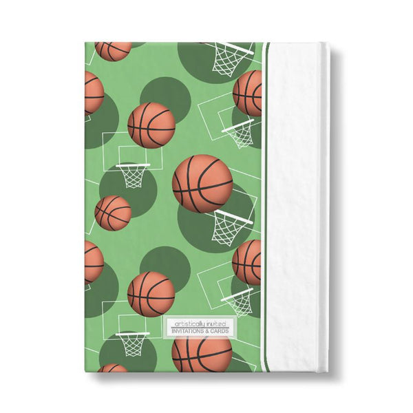 "Basketball Themed Green Pattern Personalized 5"" x 7"" Journal"