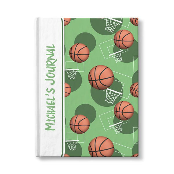 Basketball Themed Green Pattern Personalized 5 x 7 Journal at Artistically Invited