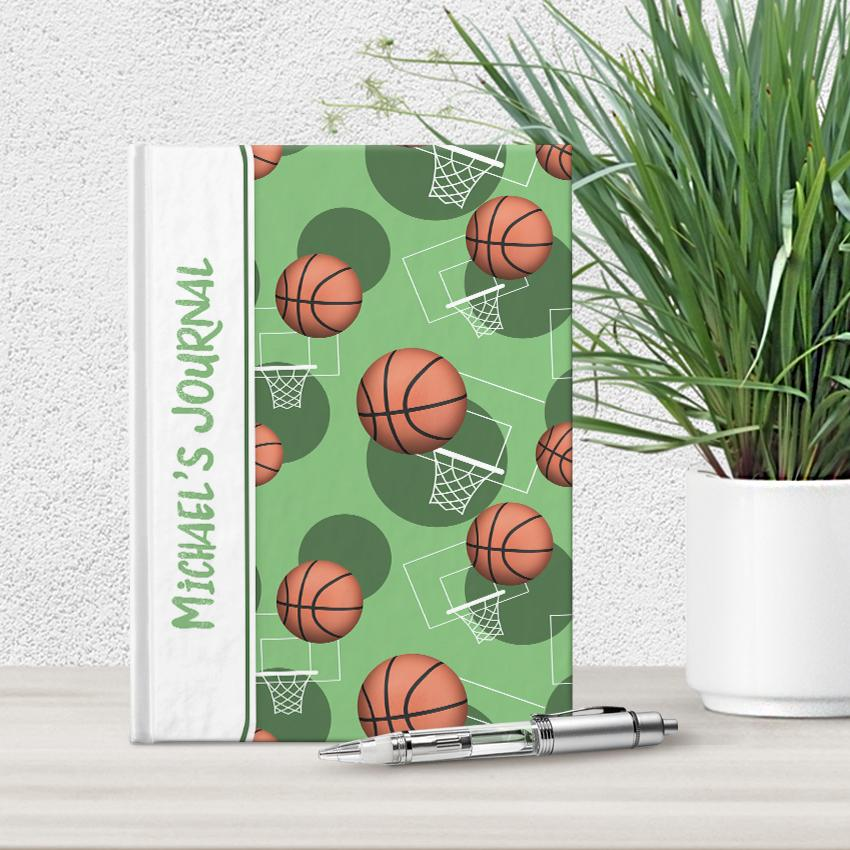 "Basketball Themed Green Pattern Personalized 5"" x 7"" Journal at Artistically Invited"