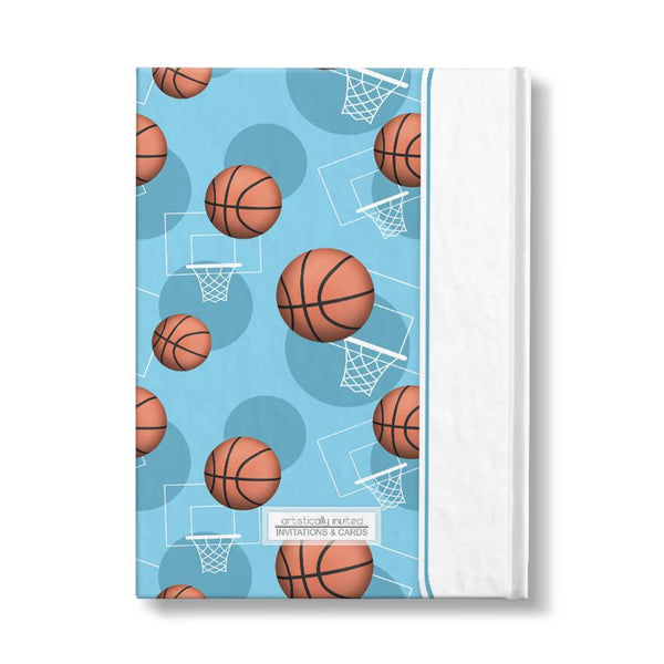 "Basketball Themed Light Blue Pattern Personalized 5"" x 7"" Journal"