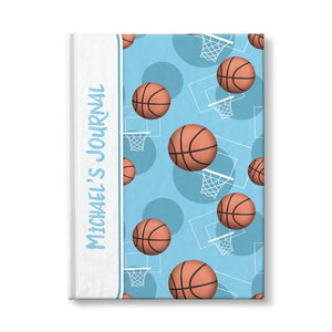 Basketball Themed Light Blue Pattern Personalized 5 x 7 Journal at Artistically Invited