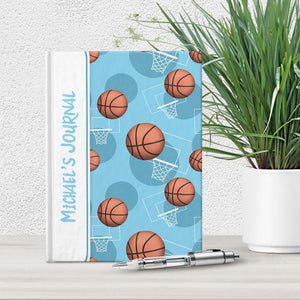 "Basketball Themed Light Blue Pattern Personalized 5"" x 7"" Journal at Artistically Invited"