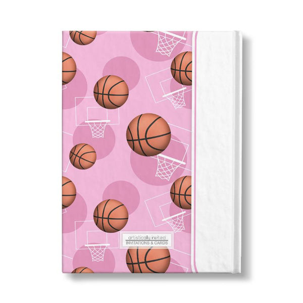 "Basketball Themed Pink Pattern Personalized 5"" x 7"" Journal"