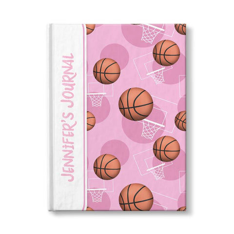 "Basketball Themed Pink Pattern Personalized 5"" x 7"" Journal at Artistically Invited"