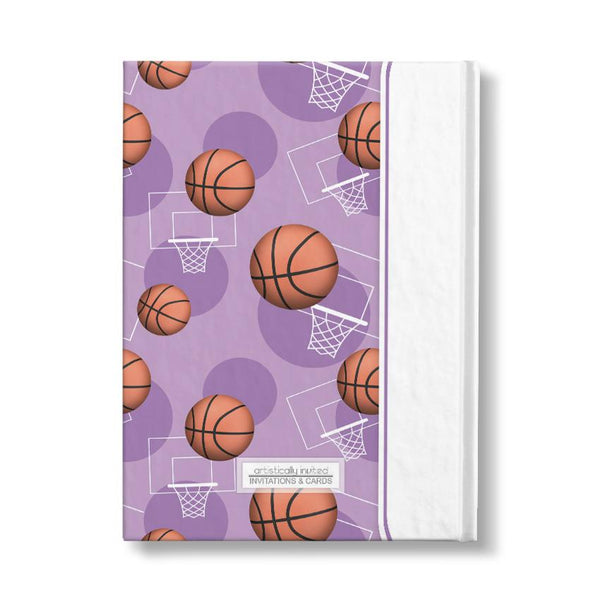 "Basketball Themed Purple Pattern Personalized 5"" x 7"" Journal"